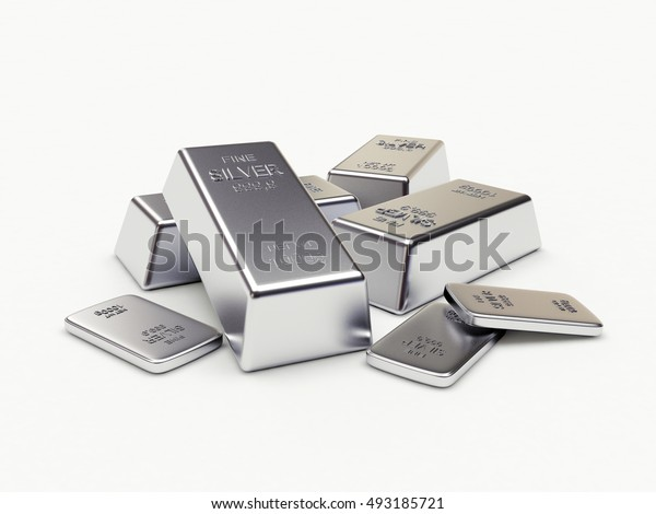 Banking concept. Heap of silver bars isolated on a white background. 3D illustration.
