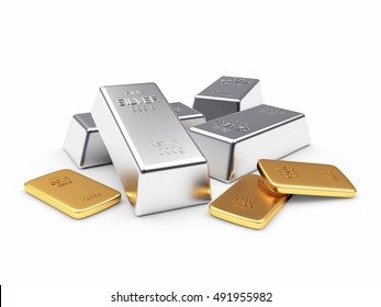Banking concept. Heap of silver and golden bars isolated on a white background. 3D illustration.