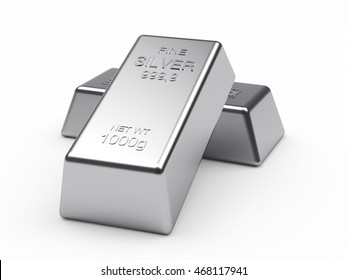Banking concept. Two silver bars isolated on a white background. 3d illustration.