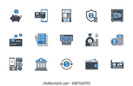 Banking icons set. Related glyph icons. Black and blue color. Isolated on white background. illustration.