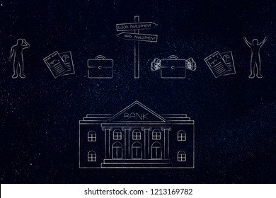 banking services conceptual illustration: bank building with mixed good and bad investments icons above