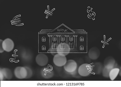 banking services conceptual illustration: bank building surrounded by currency symbols