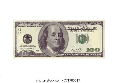 banknote of 100 USD. raster illustration