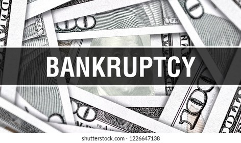 Bankruptcy Closeup Concept. American Dollars Cash Money,3D rendering. Bankruptcy at Dollar Banknote. Financial USA money banknote Commercial money investment profit concept