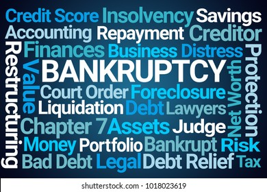 Bankruptcy Word Cloud on Blue Background