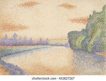The Banks of the Marne at Dawn, by Albert Dubois-Pillet, 1888, French post-impressionist watercolor painting. The pointillist technique creates an overall image through small spots of color