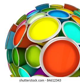 Banks of multicolored paint in sphere 3D rendering