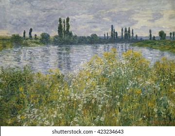 Banks of the Seine, Vetheuil, by Claude Monet, 1880, French impressionist painting, oil on canvas. In this work Monet varied brushstrokes in the landscape, using vertical strokes in the foreground, q
