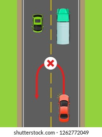 Banned car u-turn flat raster illustration. Road rule violation example on top view diagram. Traffic offences concept. Danger of car accident. Driving theory lesson. For driving courses test