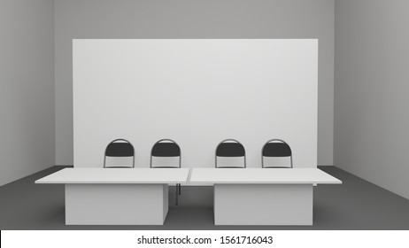 Banner 2x3 metre. 3d render. Mockup of press wall. Backdrop with chairs and tables