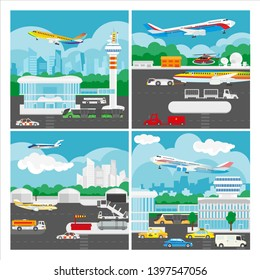 banner of airport landscape. Isolated illustration