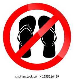 Banner ban symbol with crossed flip flops. Ban open shoes. No enter in shoes into mosque. Ban shoes in swimming pool. Unshoe icon illustration