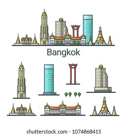 Banner of Bangkok city in flat line style. Isolated raster version with different buildings