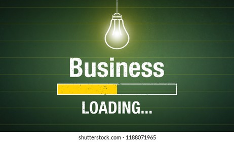 Banner business loading - glowing light bulb on a chalkboard