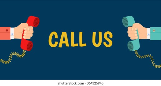 banner call us, a hand holding a phone, hand holding a telephone receiver, flat design