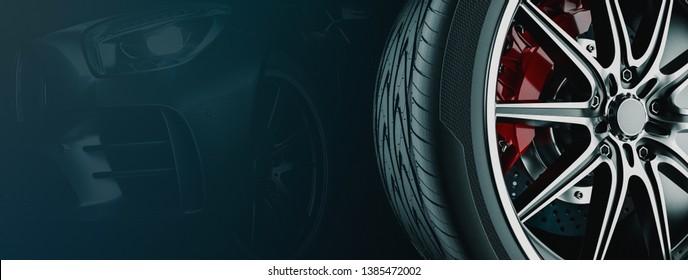 Banner For Car Wheel Business. 3d render and illustration. Wheel black background.