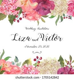 Banner, card with a blooming pink hydrangea, roses and leaves hand drawn in watercolor. Excellent use for invitations, greetings, wedding celebrations. Floral background.