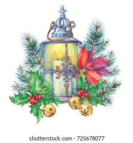 Banner with a Christmas tree, holly, poinsettia, lantern.  Watercolor hand painting illustration isolated on white background.