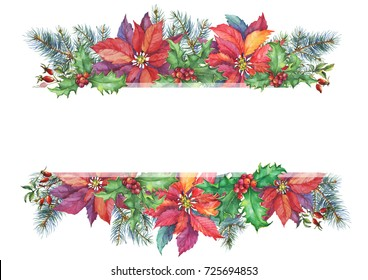 Banner with a Christmas tree, holly, poinsettia. Watercolor hand painting illustration isolated on white background.
