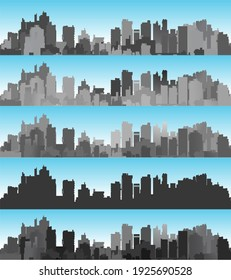 Banner city landscape of silhouettes