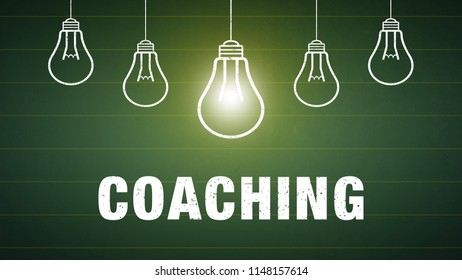 Banner Coachigng - text and light bulbs on a chalkboard