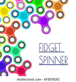 Banner with colorful fidget spinners. Spinner hand toy concept.