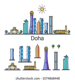 Banner of Doha city in flat line style. Isolated raster version with different buildings