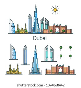 Banner of Dubai city in flat line style. Isolated raster version with different buildings