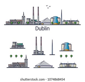 Banner of Dublin city in flat line style. Isolated raster version with different buildings