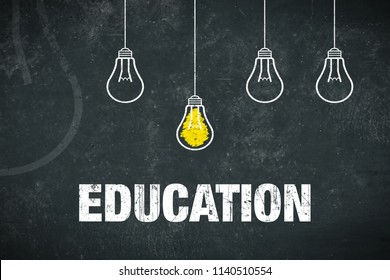 Banner Education - text and lightbulbs on a chalkboard
