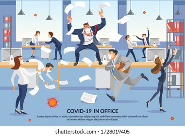 Banner Employees Panic over Covid-19 in Office. Angry Boss Shout in Chaos Office Because Failure Deadline. Stressed Cartoon Characters. Office Workers Hurry up with Job. Cartoon Characters