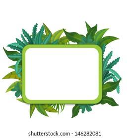 Banner - frame - border - jungle safari theme - illustration for the children