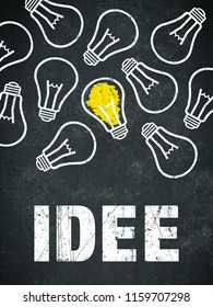 "Banner ""idee"" in german language. Translation: idea"