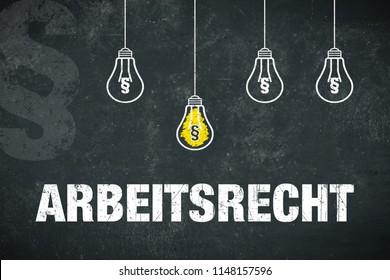"Banner ""Arbeitsrecht"" in german language. Translation: labor law."