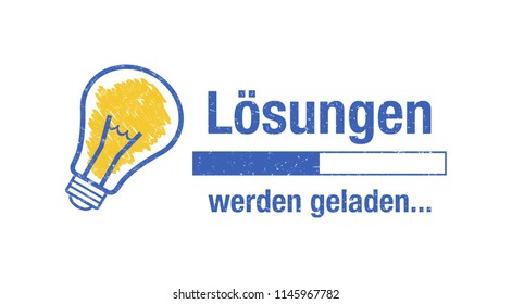 Banner in german language. Translation: Solutions are loading.
