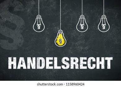 """Banner """"Handelsrecht"""" in german language. Translation: trade law."""