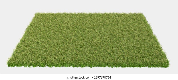 Banner grass field for composition isolated on background with mask. 3d rendering - illustration