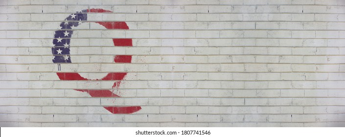 Banner heading Qanon graffiti sprayed on white wall, conspiracy theory, deep state conservative concept