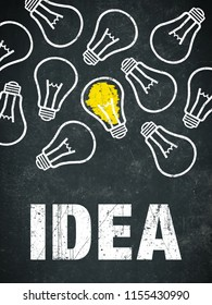 Banner idea - light bulbs and text on a chalkboard