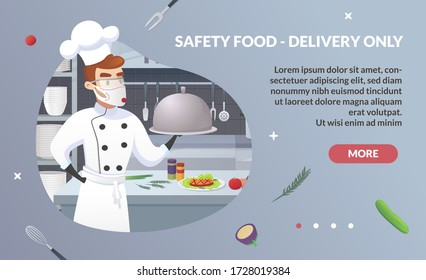 Banner Illustration Safety Food - Delivery Only. Commercial Kitchen with Cartoon Characters Chef Cook Dish Dinner. Restaurant Kitchen with Culinary Staff Holding Round Cloche Tray with Food.