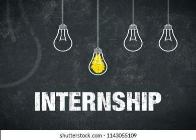 Banner Internship - text and light bulbs on a chalkboard