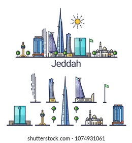 Banner of Jeddah city in flat line style. Isolated raster version with different buildings