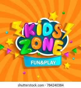 Banner for kids zone in cartoon style. Place for fun and play. Raster copy.