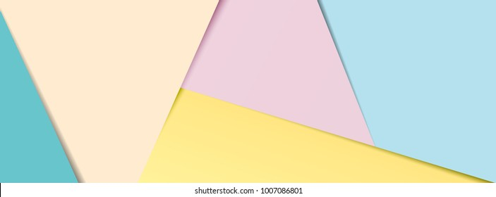 A banner of layered pastel coloured paper in popular social media banner proportions.