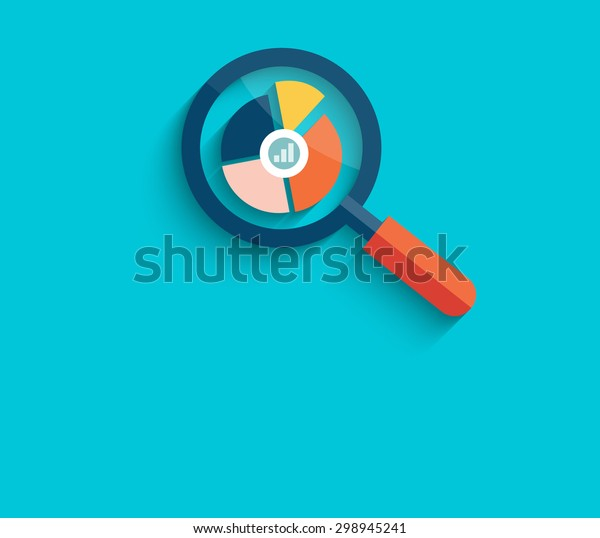 Banner with magnifying glass and multi-colored pie chart with the name Data analysis on blue background. For web construction, mobile applications, banners, corporate brochures. Raster version