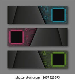 Banner microcircuit. Modern template processor design. flat abstract design web banner microcircuit. Web Header elements. Abstract web banner template microcircuit. Collection web banner processor