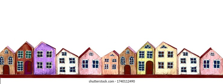 Banner multicolored watercolor houses on a white background