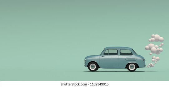 Banner with a passenger blue retro car with an exhaust gas in a cartoon style. Isolated on a turquoise background. 3D rendering.