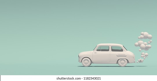 Banner with a passenger white monochrome retro car with an exhaust gas in a cartoon style. Isolated on a turquoise background. 3D rendering.