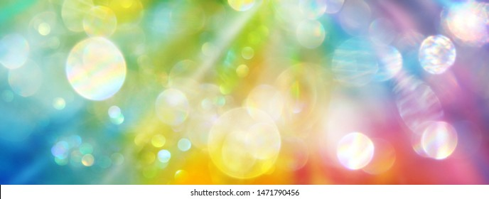 Banner rainbow colored light - background holistic therapy